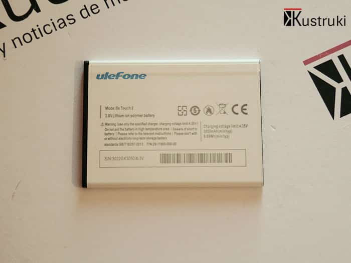 UleFone Be Touch 2 bateria caracteristicas
