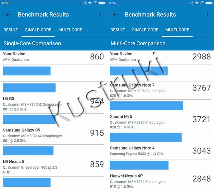 Xiaomi Redmi Note 4X Geekbench